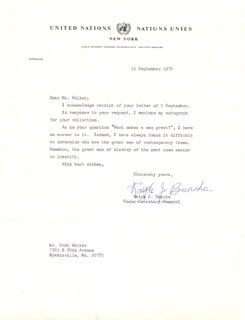 Autographs: RALPH J. BUNCHE - TYPED LETTER SIGNED 09/11/1970