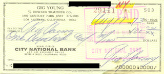 GIG YOUNG - AUTOGRAPHED SIGNED CHECK 08/17/1973