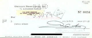 GLENN FORD - AUTOGRAPHED SIGNED CHECK 09/18/1974