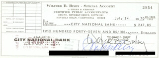 BILL BIXBY - AUTOGRAPHED SIGNED CHECK 07/24/1970 CO-SIGNED BY: JOHN PERRY