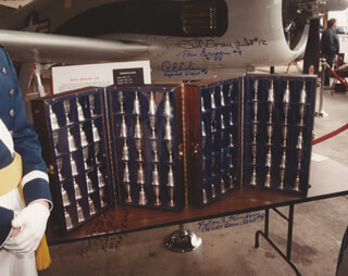 DOOLITTLE RAIDERS - AUTOGRAPHED SIGNED PHOTOGRAPH CIRCA 1995 CO-SIGNED BY: COLONEL WILLIAM M. BILL BOWER, COLONEL TRAVIS HOOVER, COLONEL RICHARD E. COLE, MAJOR NOLAN A. SUE HERNDON, MAJOR THOMAS C. GRIFFIN