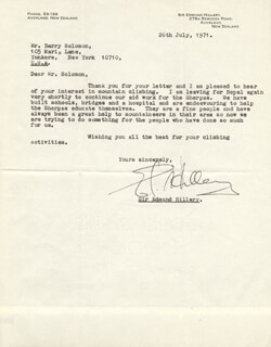 SIR EDMUND P. HILLARY - TYPED LETTER SIGNED 07/26/1971