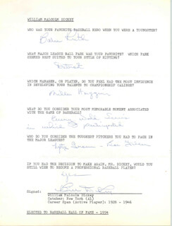 BILL DICKEY - QUESTIONNAIRE SIGNED