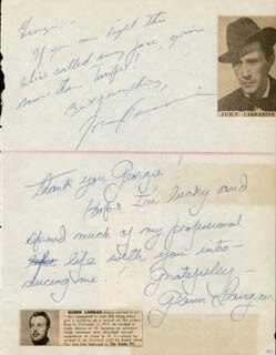 Autographs: JOHN CARRADINE - AUTOGRAPH NOTE SIGNED CO-SIGNED BY: TED FIO RITO, GLENN LANGAN