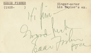 EDDIE FISHER - AUTOGRAPH NOTE SIGNED CIRCA 1953