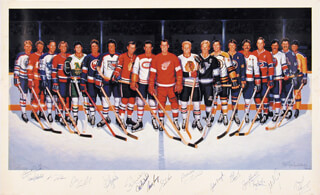 Autographs: 500 GOAL SCORERS - POSTER SIGNED CO-SIGNED BY: MARCEL DIONNE, PHIL ESPOSITO, MAURICE RICHARD, RON LEWIS, BOBBY THE GOLDEN JET HULL, STAN MIKITA, GUY LAFLEUR, BRYAN TROTTIER, JOHN BUCYK, GORDIE HOWE, MIKE BOSSY, GIL PERREAULT, FRANK MAHOVLICH, JEAN BELLVEAU, DINO CICCARELLI, MICHEL GOULET, LANNY MCDONALD