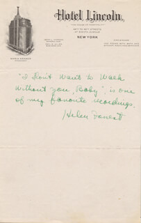 HELEN FORREST - AUTOGRAPH NOTE SIGNED