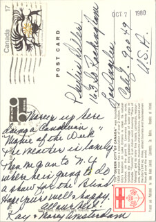 KAY PATRICK AMSTERDAM - AUTOGRAPH NOTE SIGNED