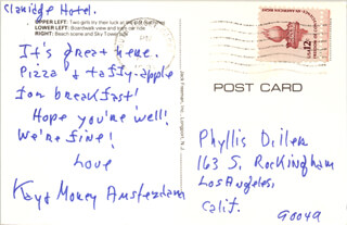KAY PATRICK AMSTERDAM - AUTOGRAPH NOTE SIGNED CIRCA 1981