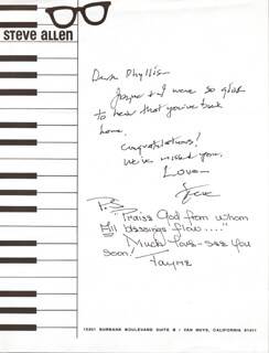 STEVE ALLEN - AUTOGRAPH LETTER SIGNED CO-SIGNED BY: JAYNE MEADOWS