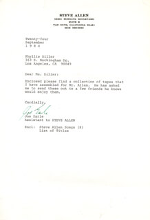Autographs: STEVE ALLEN - TYPED LETTER UNSIGNED 09/24/1984 WITH JOE EARLE