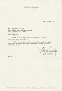 MAYA ANGELOU - TYPED LETTER SIGNED 08/17/1994