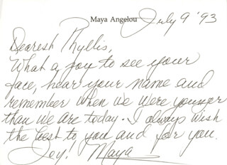 MAYA ANGELOU - AUTOGRAPH LETTER SIGNED 07/09/1993