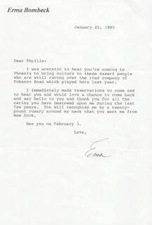 ERMA BOMBECK - TYPED LETTER SIGNED 01/25/1995