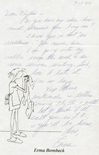ERMA BOMBECK - AUTOGRAPH LETTER SIGNED 07/01/1981