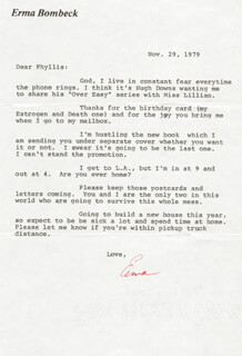 ERMA BOMBECK - TYPED LETTER SIGNED 11/29/1979