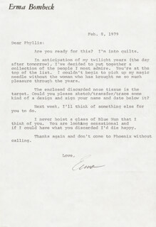 ERMA BOMBECK - TYPED LETTER SIGNED 02/08/1979