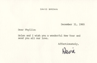 DAVID BROWN - TYPED LETTER SIGNED 12/31/1980