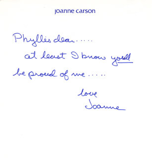 JOANNE (MRS. JOHNNY) CARSON - AUTOGRAPH NOTE SIGNED