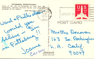 Autographs: JOANNE (MRS. JOHNNY) CARSON - AUTOGRAPH NOTE SIGNED CIRCA 1973
