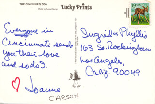 Autographs: JOANNE (MRS. JOHNNY) CARSON - AUTOGRAPH NOTE SIGNED