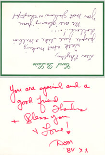 DOM DELUISE - AUTOGRAPH NOTE SIGNED 1984 CO-SIGNED BY: CAROL ARTHUR (MRS. DOM) DE LUISE