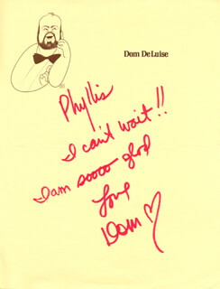 DOM DELUISE - AUTOGRAPH NOTE SIGNED