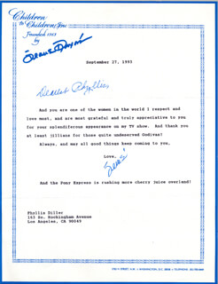 JEANE DIXON - TYPED LETTER SIGNED 09/27/1993