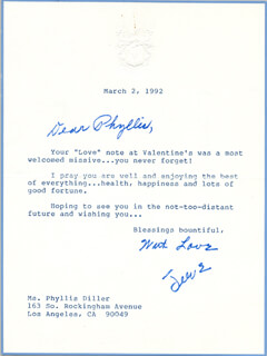JEANE DIXON - TYPED LETTER SIGNED 03/02/1992