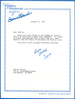 JEANE DIXON - TYPED LETTER SIGNED 01/19/1994
