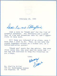 JEANE DIXON - TYPED LETTER SIGNED 02/26/1993