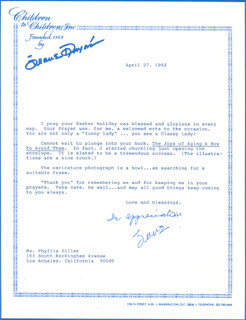 JEANE DIXON - TYPED LETTER SIGNED 04/27/1992