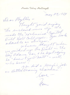 NANETTE FABRAY - AUTOGRAPH LETTER SIGNED 05/24/1984