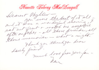 NANETTE FABRAY - AUTOGRAPH LETTER SIGNED