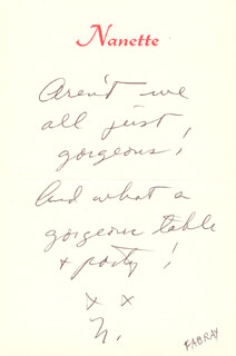NANETTE FABRAY - AUTOGRAPH NOTE SIGNED