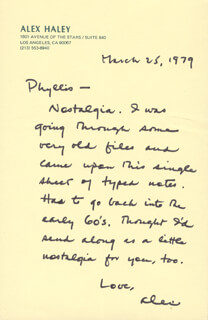 ALEX HALEY - AUTOGRAPH LETTER SIGNED 03/25/1979