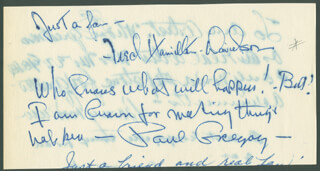 PAUL GREGORY - AUTOGRAPH NOTE SIGNED