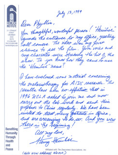 HENRY J. HEIMLICH - AUTOGRAPH LETTER SIGNED 07/13/1999