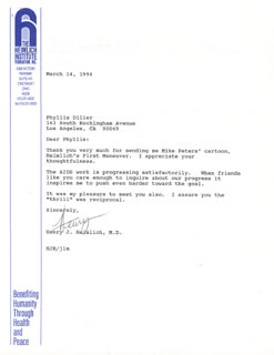 HENRY J. HEIMLICH - TYPED LETTER SIGNED 03/14/1994