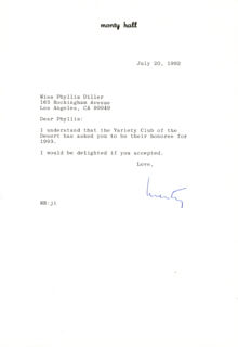 MONTY HALL - TYPED LETTER SIGNED 07/20/1992