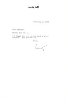 MONTY HALL - TYPED LETTER SIGNED 02/01/1993