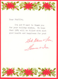 FLORENCE HENDERSON - TYPED LETTER SIGNED CIRCA 12/1981