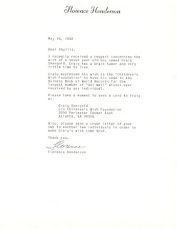 FLORENCE HENDERSON - TYPED LETTER SIGNED 05/15/1992