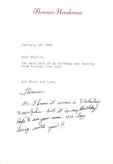 FLORENCE HENDERSON - TYPED LETTER SIGNED 02/28/1992