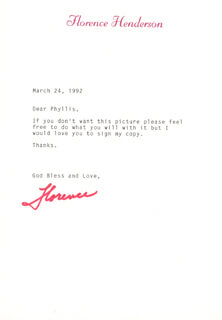 FLORENCE HENDERSON - TYPED LETTER SIGNED 03/24/1992