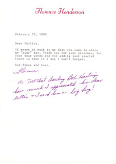 FLORENCE HENDERSON - TYPED LETTER SIGNED 02/23/1996