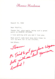 FLORENCE HENDERSON - TYPED LETTER SIGNED 08/10/1992