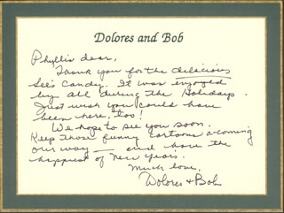 DOLORES (MRS. BOB) HOPE - AUTOGRAPH LETTER SIGNED