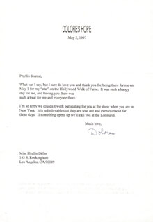 DOLORES (MRS. BOB) HOPE - TYPED LETTER SIGNED 05/02/1997