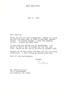 DOLORES (MRS. BOB) HOPE - TYPED LETTER SIGNED 05/11/1995